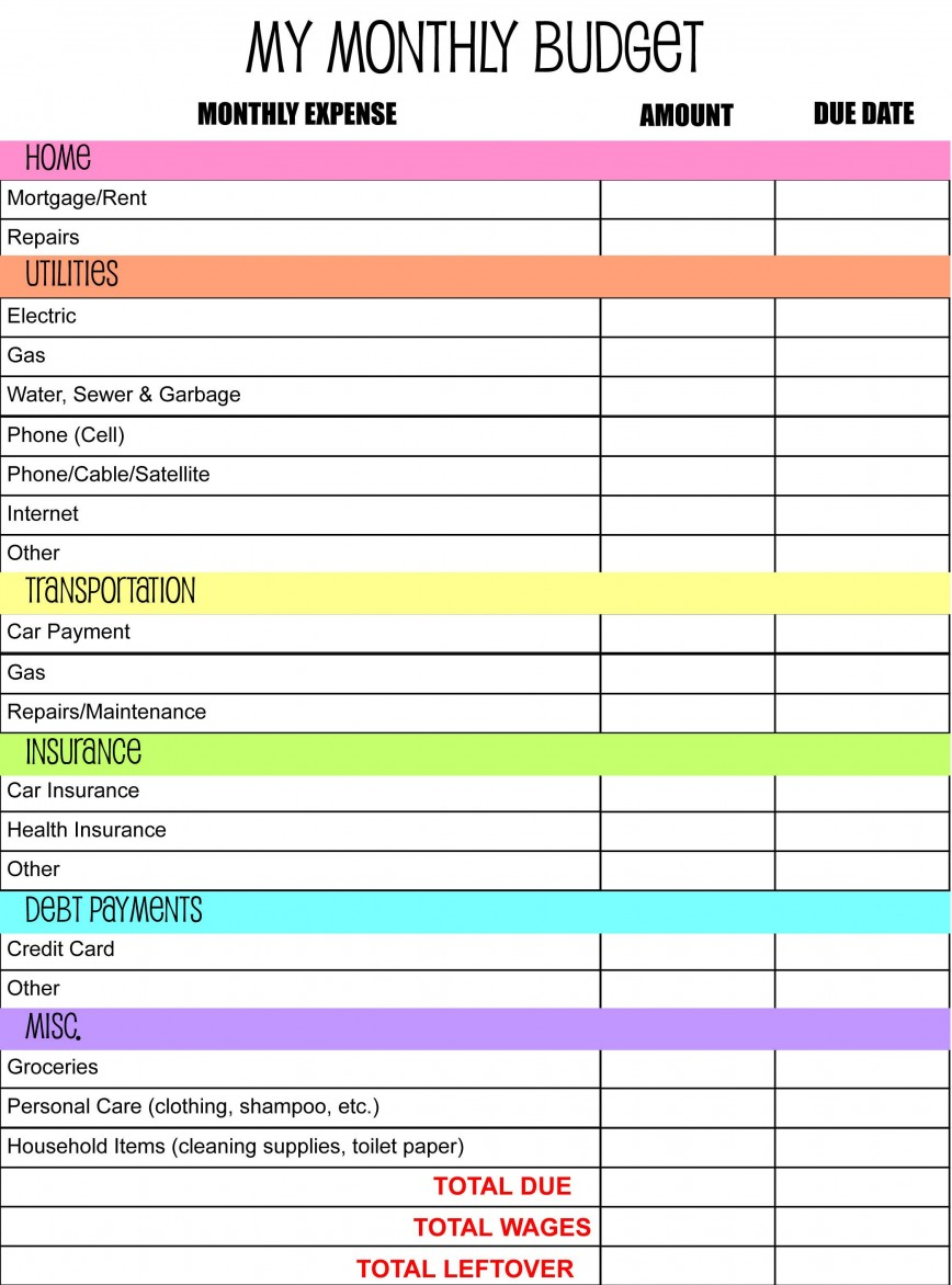 005 Wonderful Free Simple Monthly Household Budget Template Example