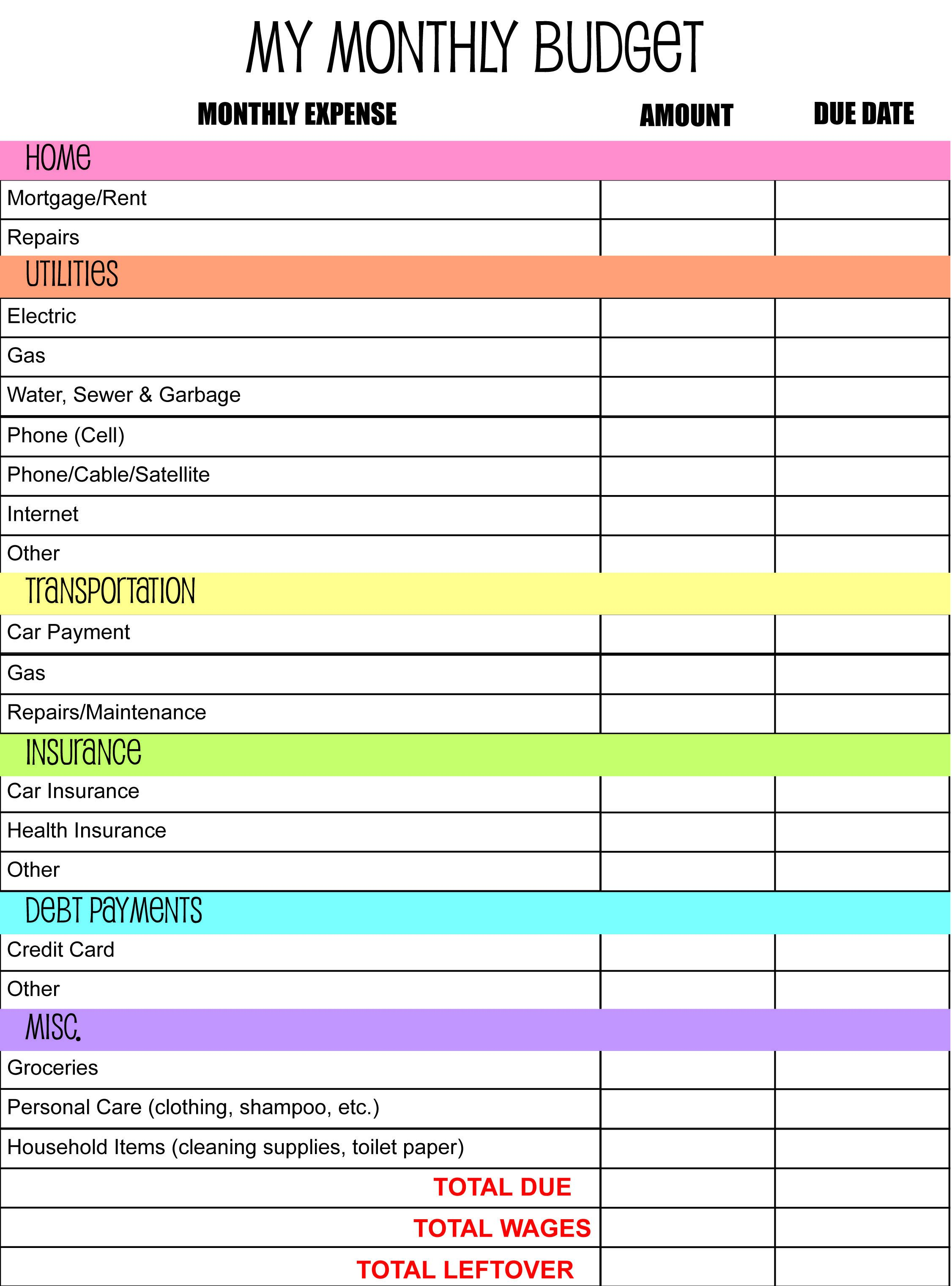 005 Wonderful Free Simple Monthly Household Budget Template Example Full