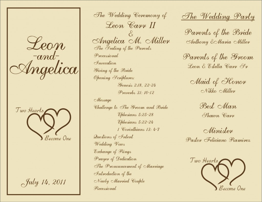 005 Wonderful Free Wedding Ceremony Program Template Picture  Catholic DownloadLarge