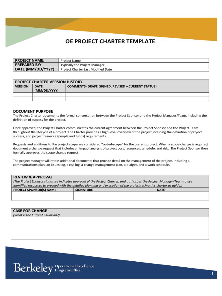 005 Wonderful Project Charter Template Excel Highest Clarity  Lean Pmbok NederlandFull