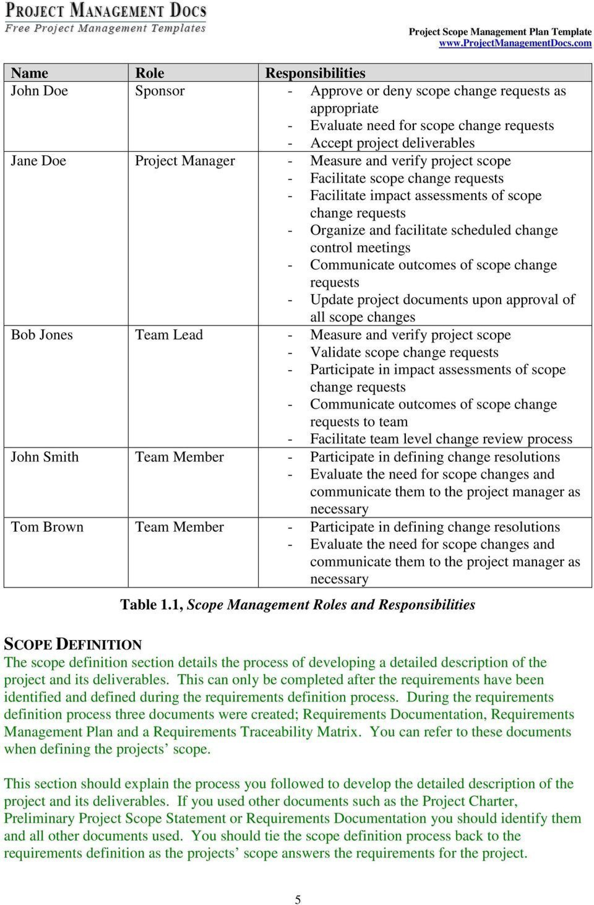 005 Wonderful Project Scope Management Plan Template Free High Resolution 1920