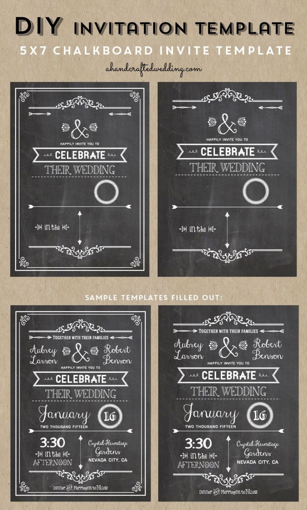 005 Wondrou Chalkboard Invitation Template Free Picture  Birthday DownloadLarge
