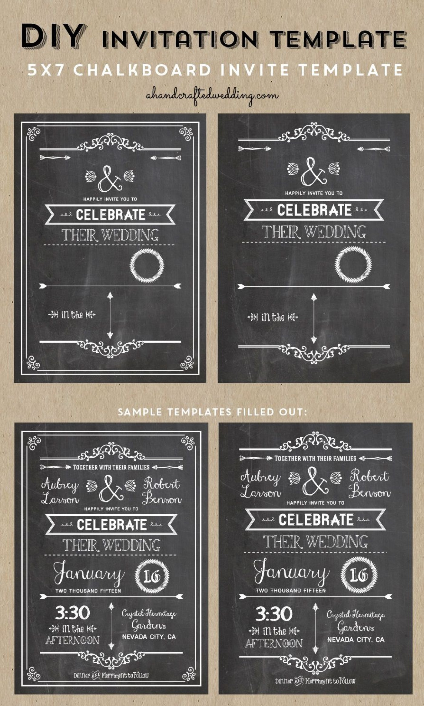 005 Wondrou Chalkboard Invitation Template Free Picture  Download Wedding1400