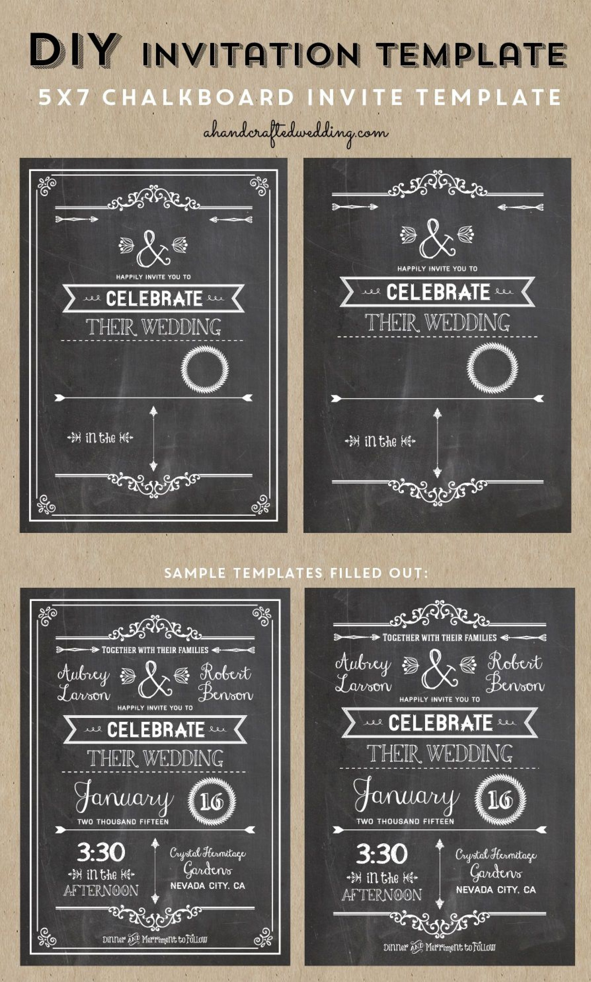005 Wondrou Chalkboard Invitation Template Free Picture  Download Wedding1920