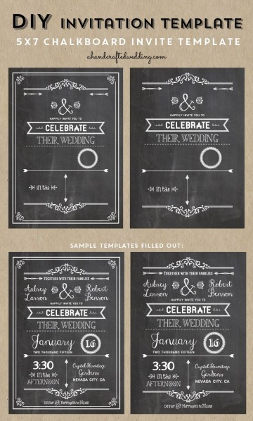 005 Wondrou Chalkboard Invitation Template Free Picture  Download Wedding360