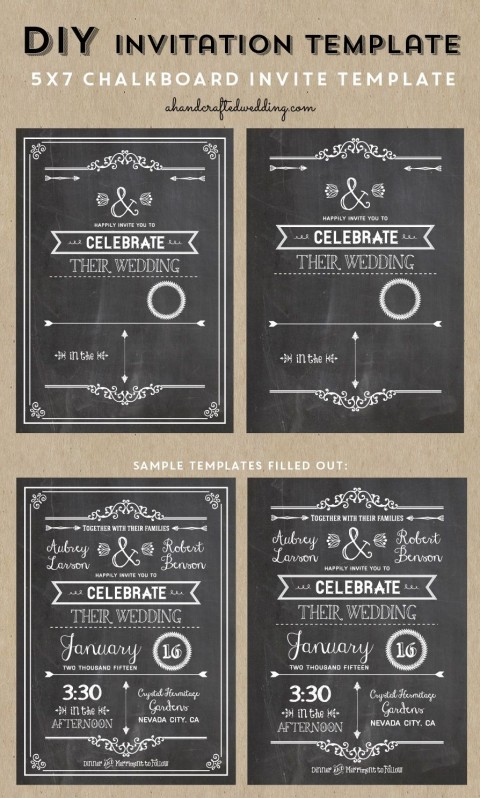 005 Wondrou Chalkboard Invitation Template Free Picture  Download Wedding480