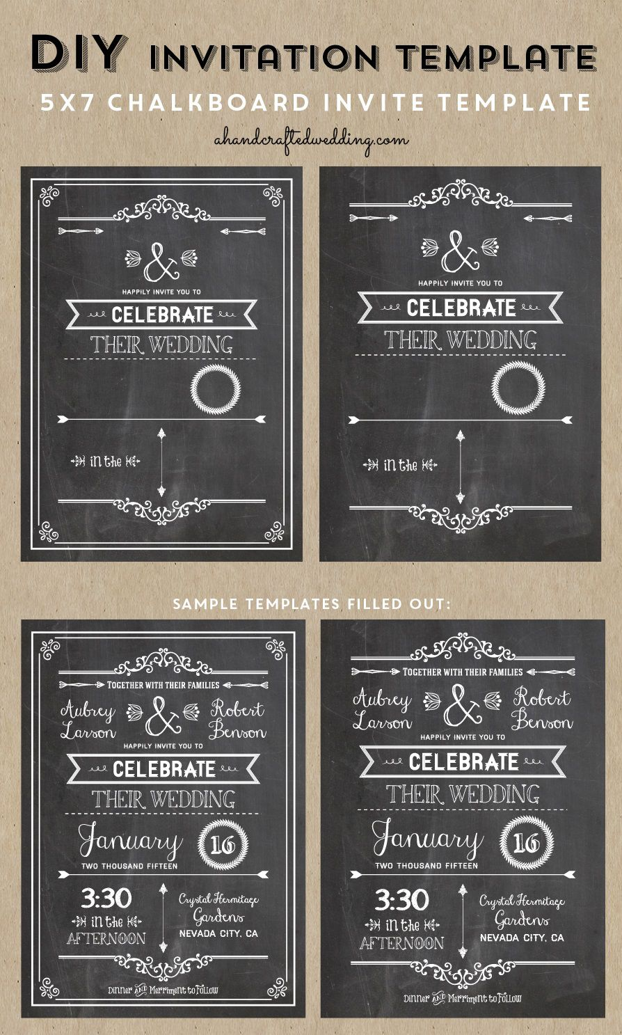 005 Wondrou Chalkboard Invitation Template Free Picture  Download BirthdayFull