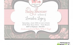 005 Wondrou Elephant Baby Shower Invitation Girl Pink Picture