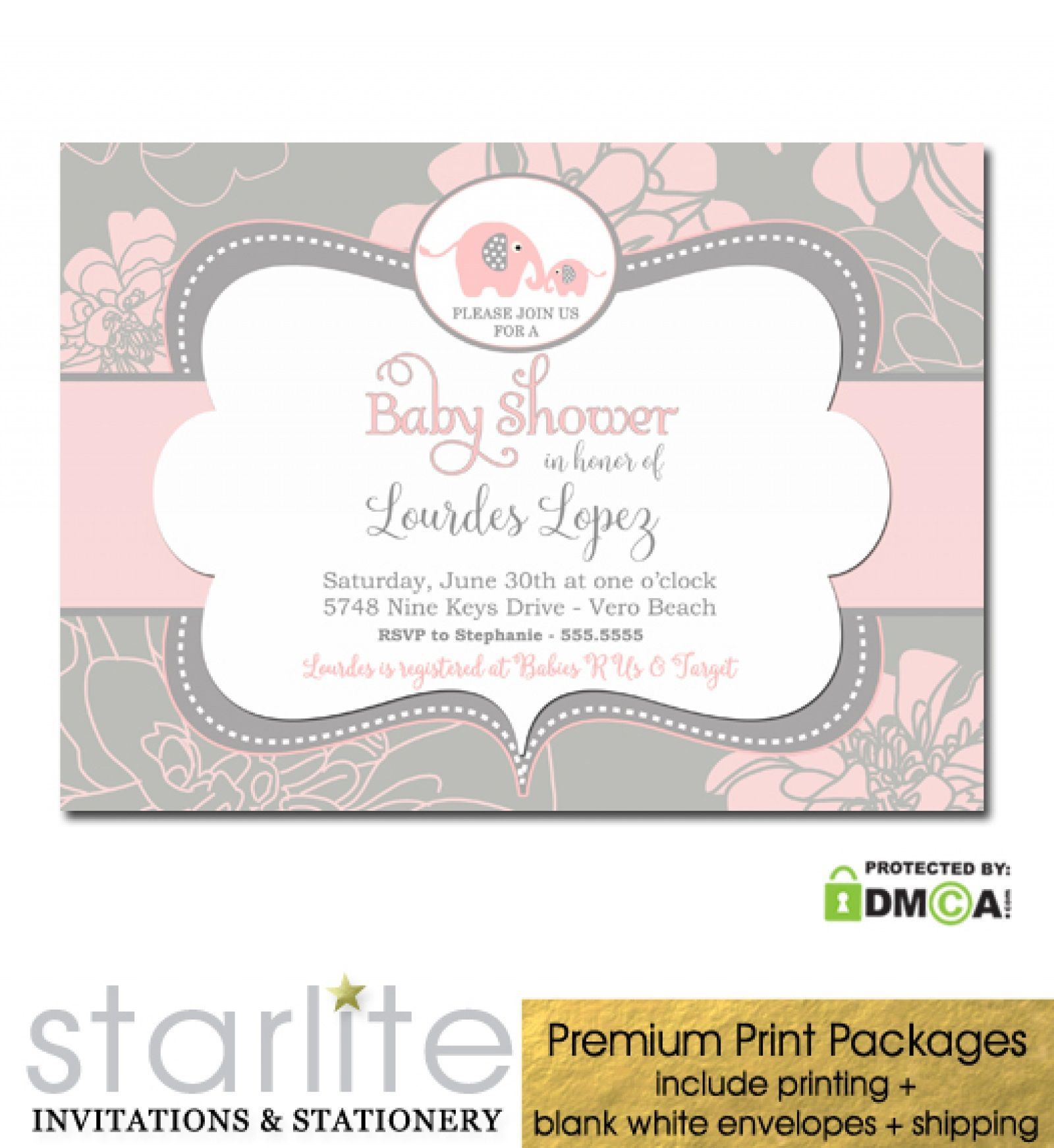 005 Wondrou Elephant Baby Shower Invitation Girl Pink Picture Full
