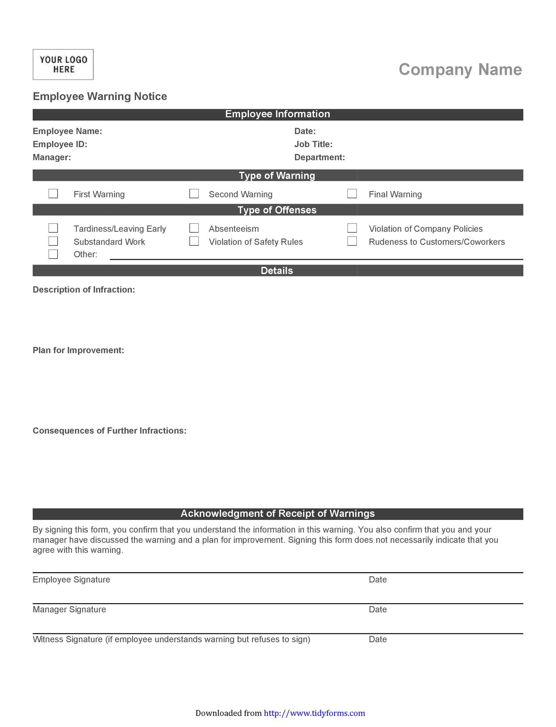 005 Wondrou Employee Warning Notice Template Word High Def Full