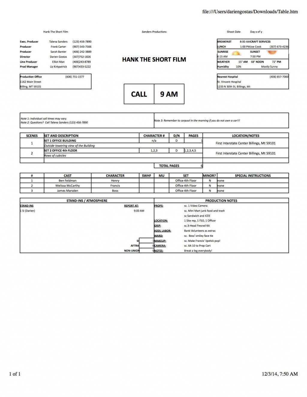 005 Wondrou Film Call Sheet Sample Photo  Template Download Excel Google DocLarge