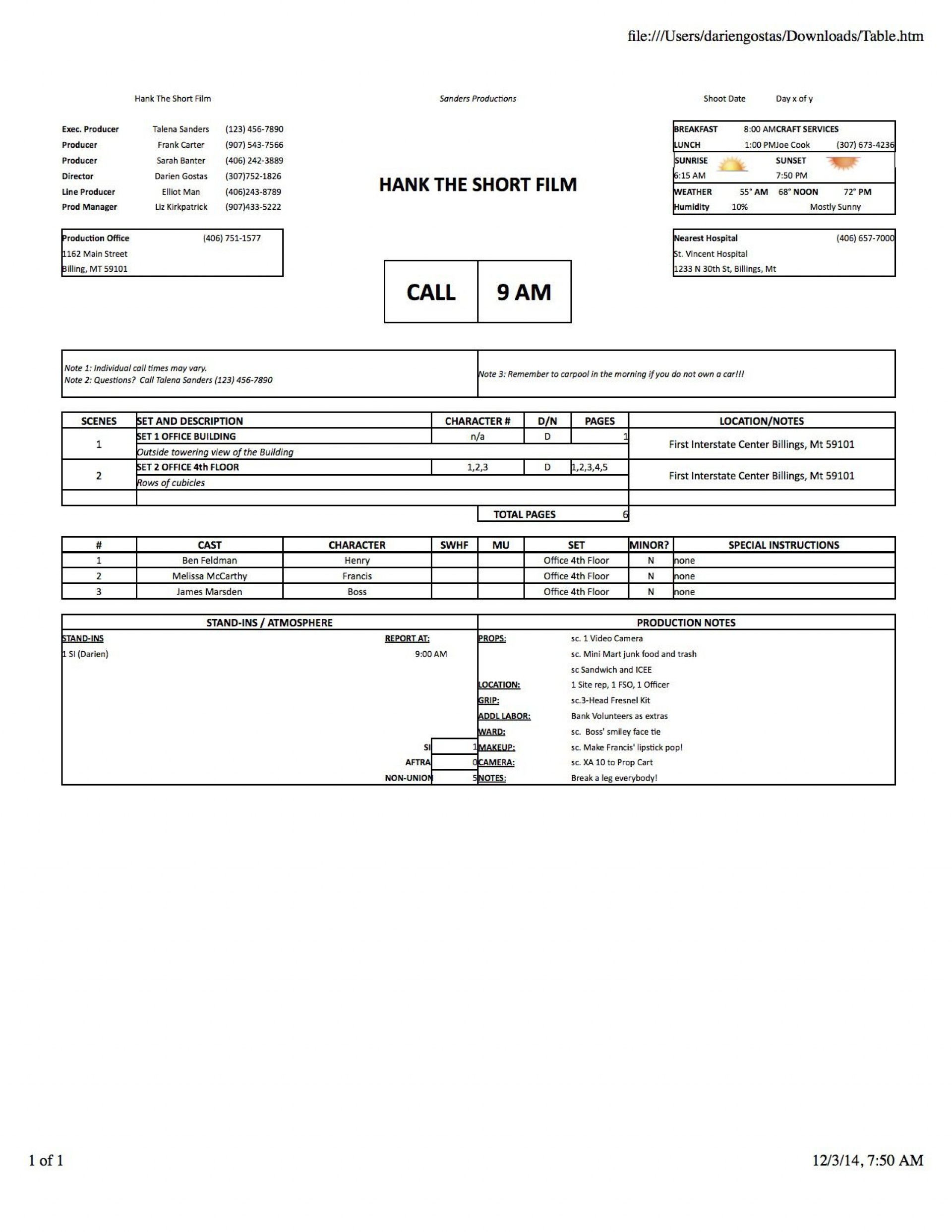 005 Wondrou Film Call Sheet Sample Photo  Template Download Excel Google Doc1920