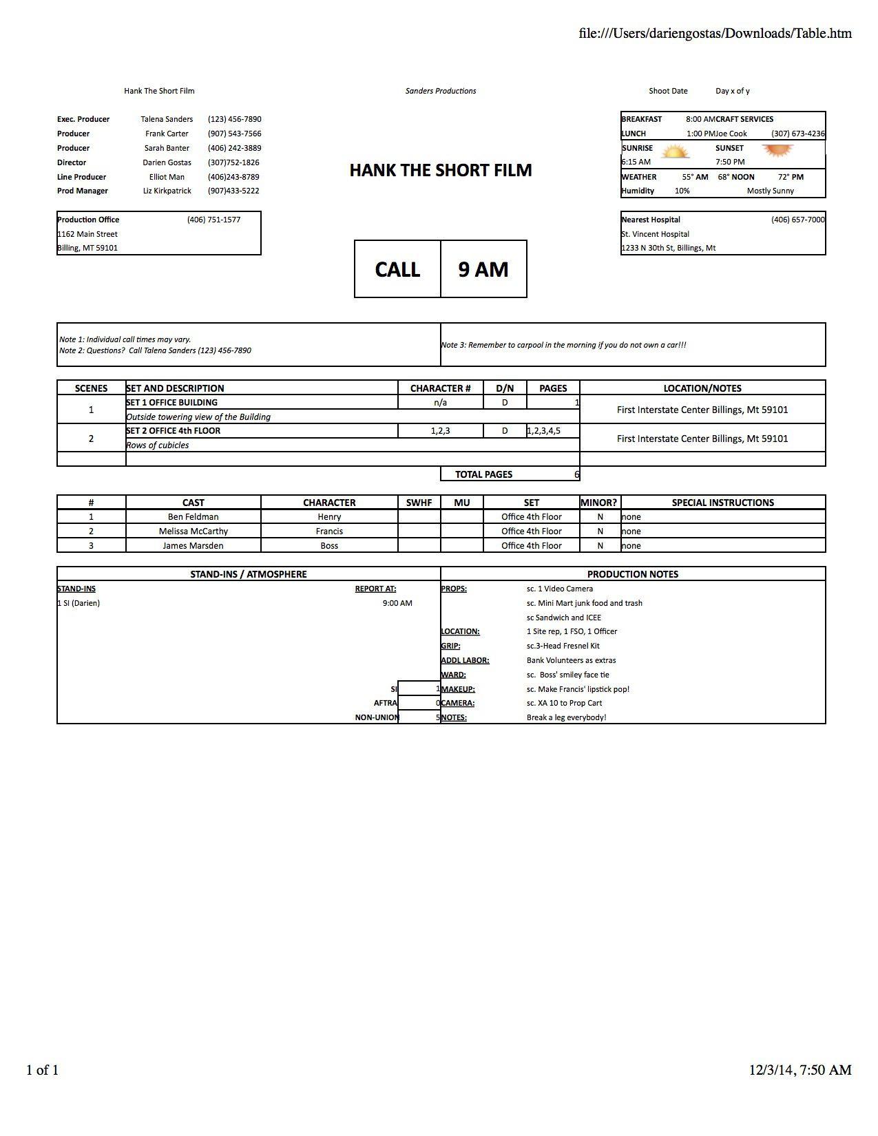 005 Wondrou Film Call Sheet Sample Photo  Template Download Excel Google DocFull