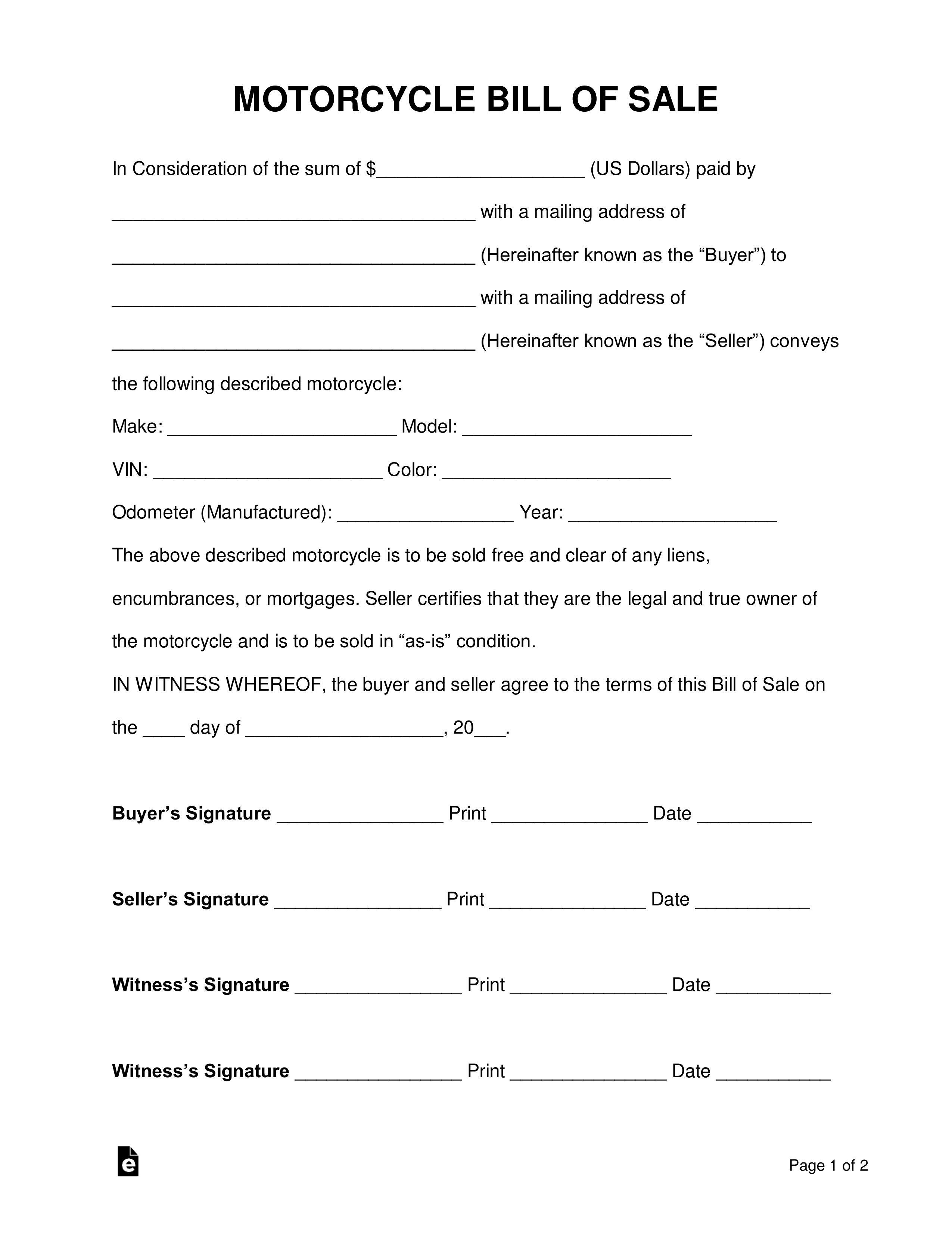 005 Wondrou Motorcycle Bill Of Sale Template Concept  Ontario Printable Word CaliforniaFull