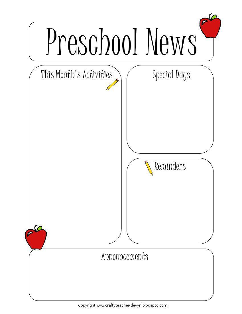 005 Wondrou Newsletter Template For Teacher Inspiration  Teachers To Parent Printable Free SchoolFull