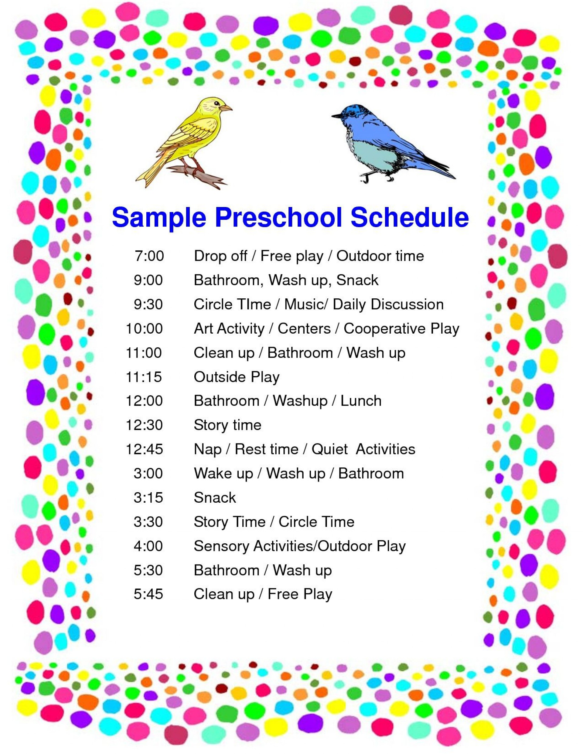 005 Wondrou Preschool Daily Schedule Template Highest Quality  Planner Routine Plan1920