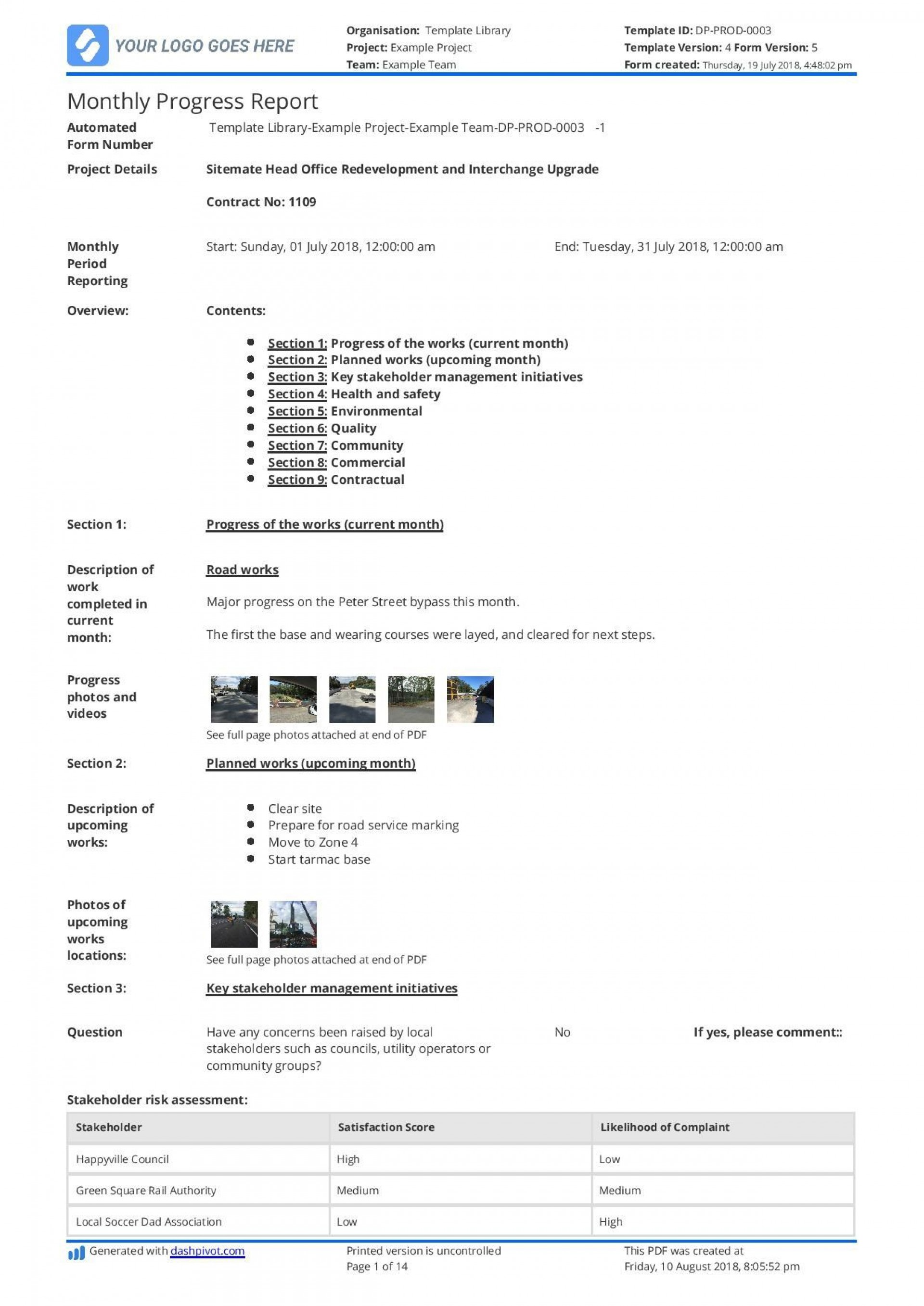 005 Wondrou Project Management Monthly Progres Report Template Photo 1920