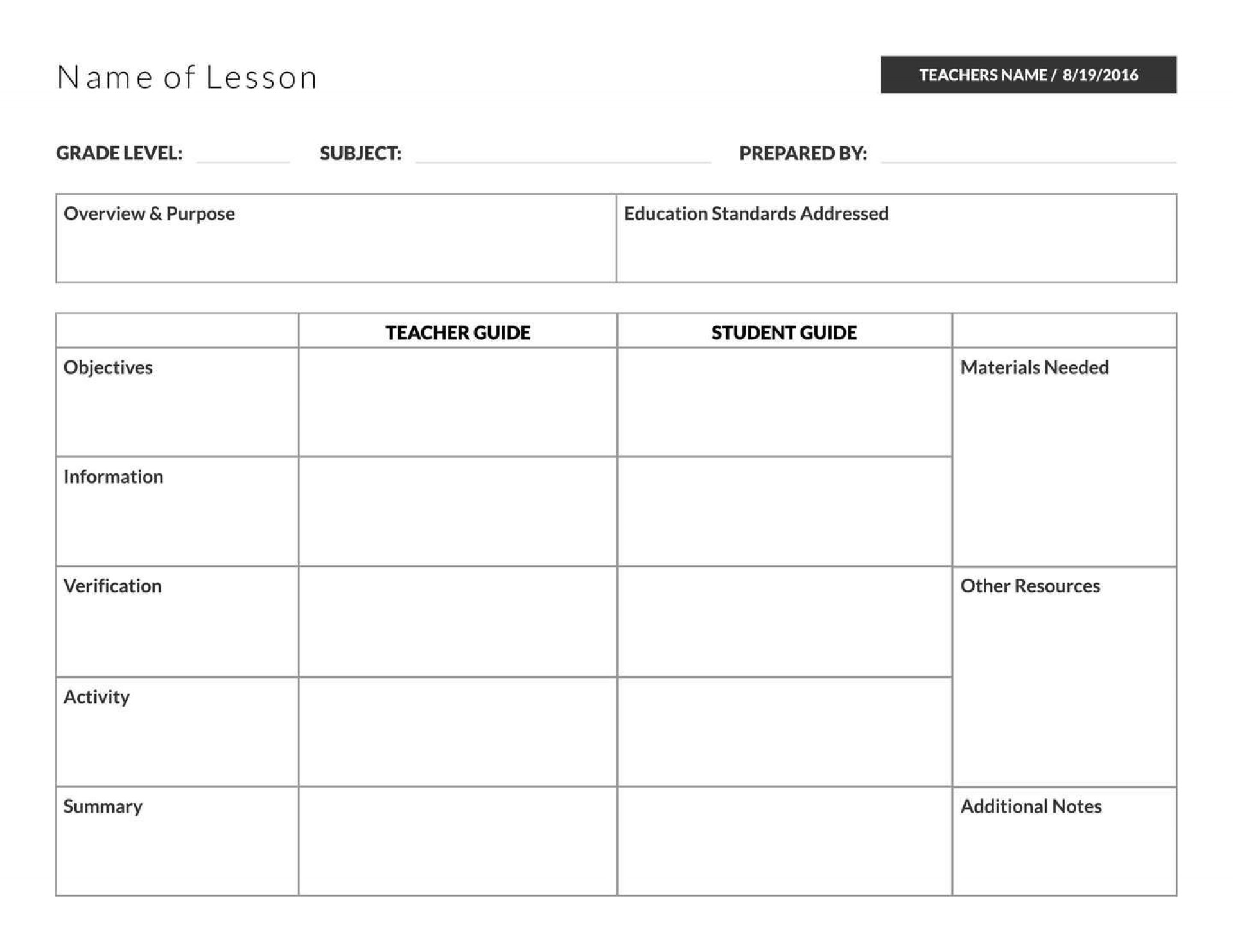 005 Wondrou Template For Lesson Plan Idea  Plans Pdf High School Sample1920