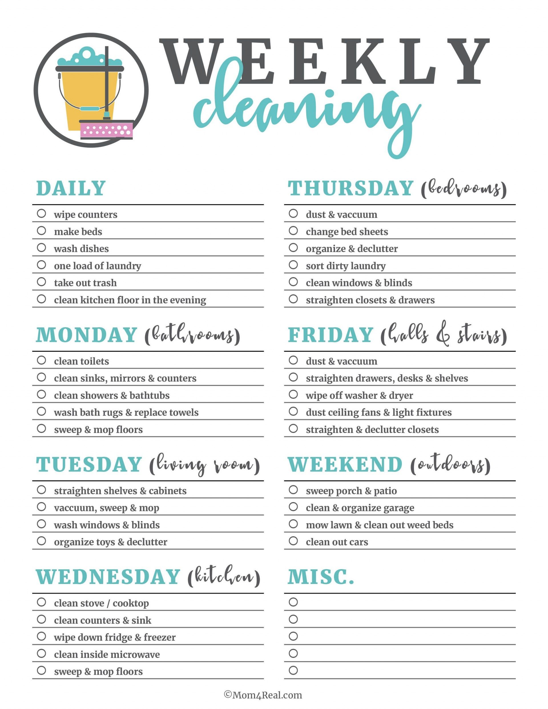 005 Wondrou Weekly Cleaning Schedule Template Idea  Word Example House Checklist1920