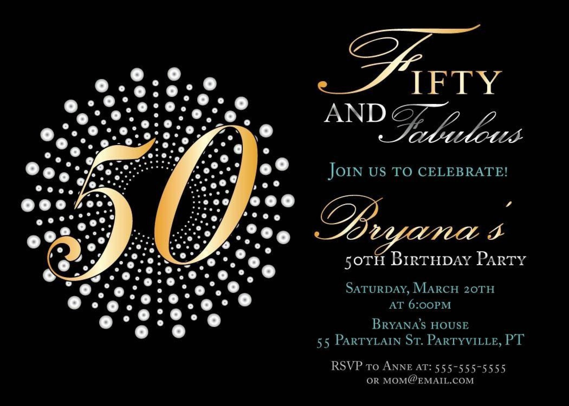 006 Amazing 50th Birthday Invitation Template Sample  Vector Free For Him1920