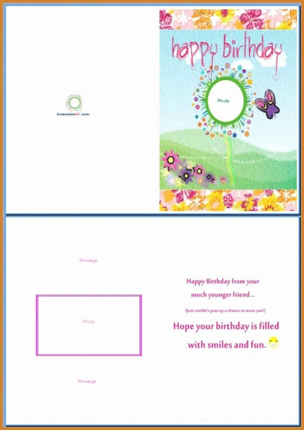 006 Amazing Birthday Card Template Word Highest Clarity  Blank Greeting Microsoft 2010Large