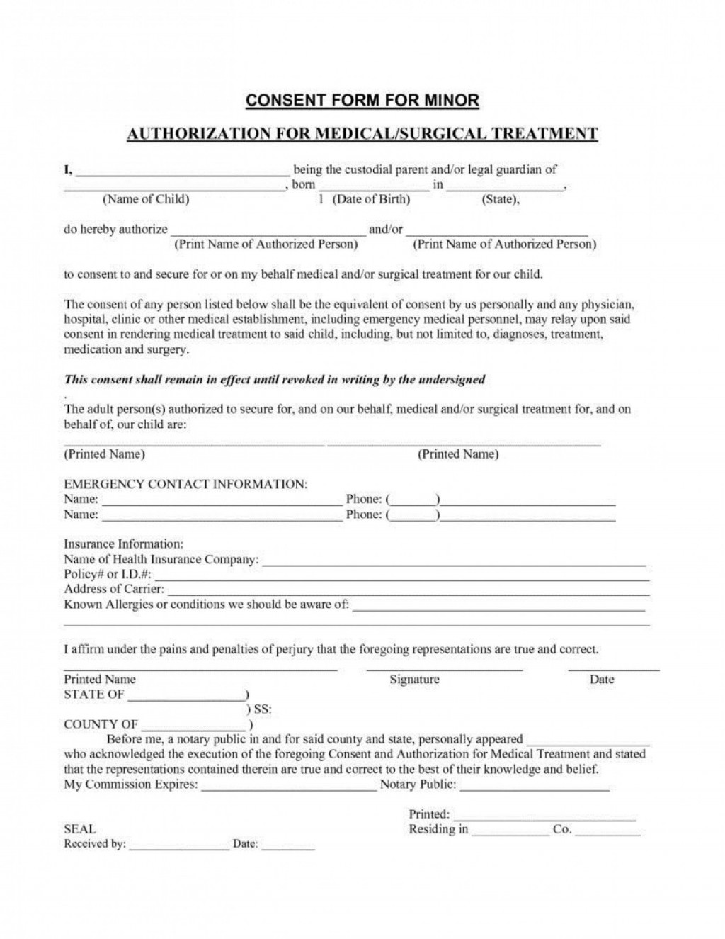 006 Amazing Medical Treatment Authorization And Consent Form Template Design Large