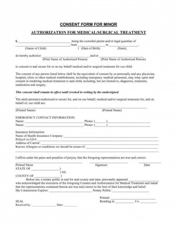 006 Amazing Medical Treatment Authorization And Consent Form Template Design 360