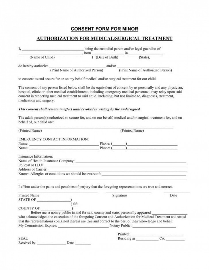 006 Amazing Medical Treatment Authorization And Consent Form Template Design 728
