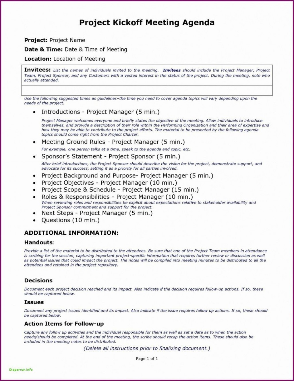 006 Amazing Project Kickoff Meeting Template Doc Example Large