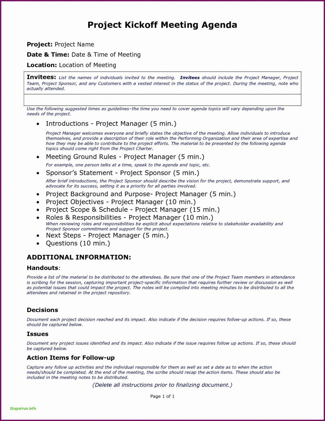 006 Amazing Project Kickoff Meeting Template Doc Example Full