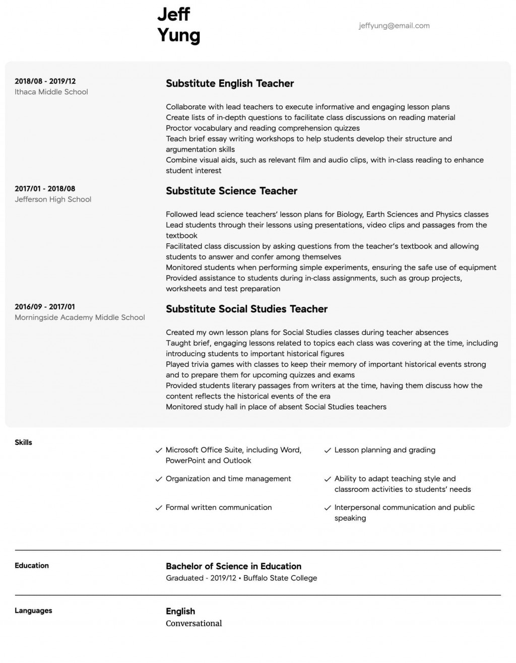 006 Amazing Resume Example For Teaching Concept  Sample Position In College Teacher School Principal IndiaLarge
