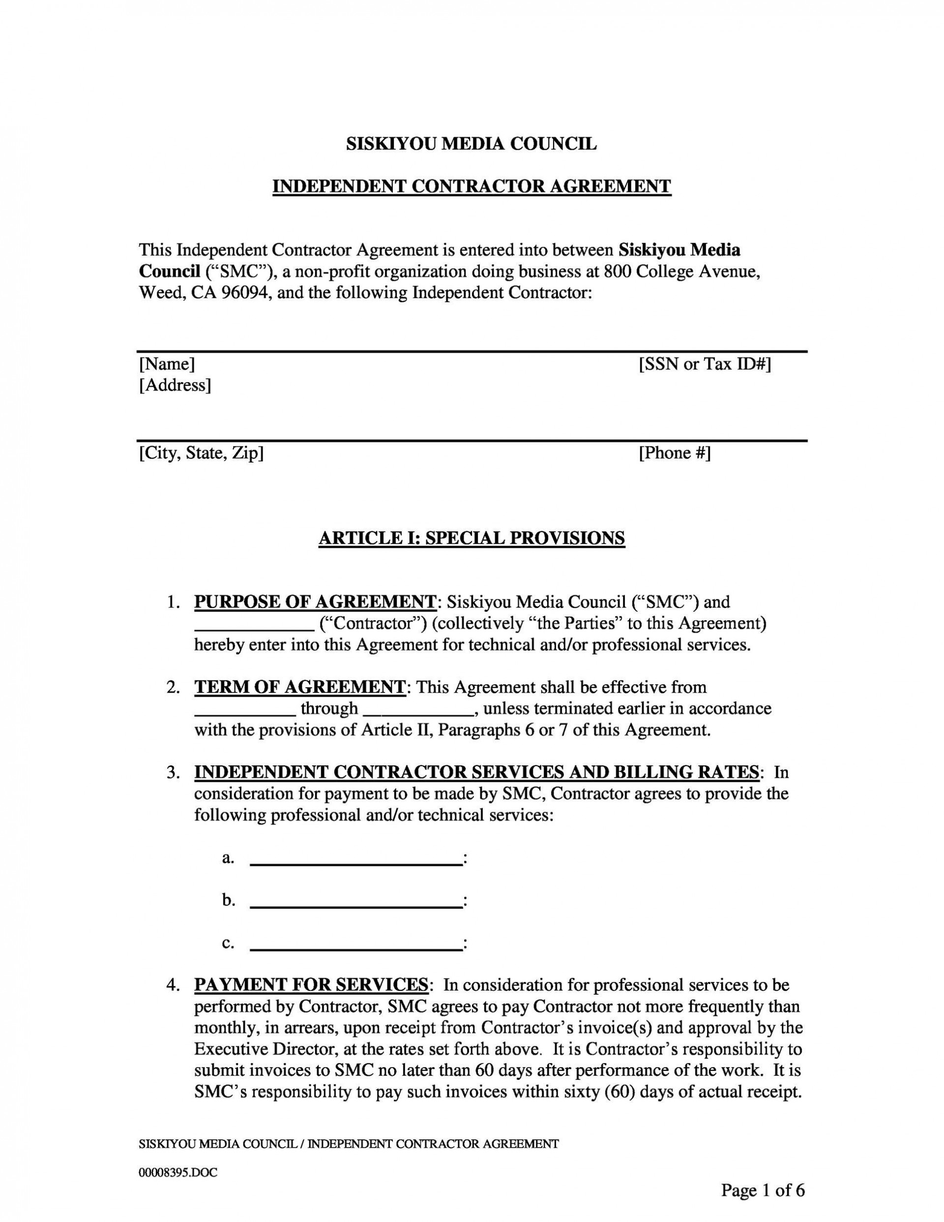 006 Amazing Simple Independent Contractor Agreement Template Highest Clarity  Basic South Africa Ontario1920