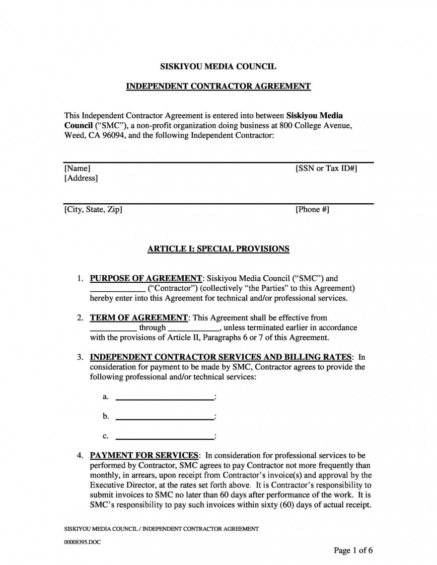 006 Amazing Simple Independent Contractor Agreement Template Highest Clarity  Alberta Sample