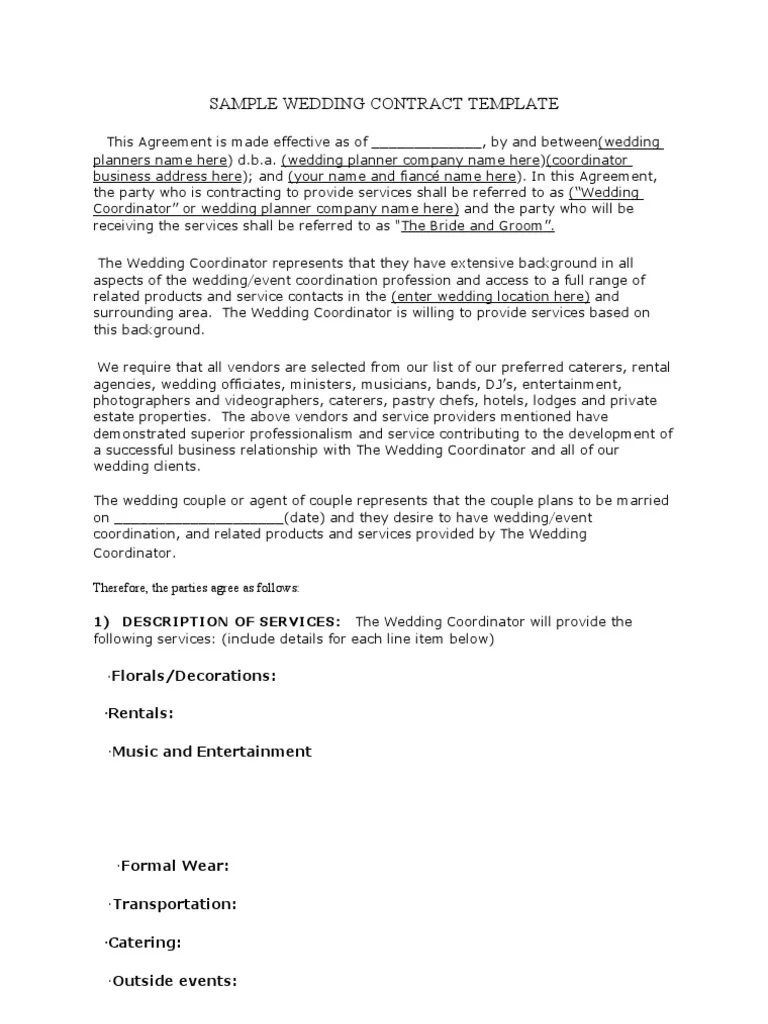 006 Amazing Wedding Videographer Contract Template Concept  Videography PdfFull