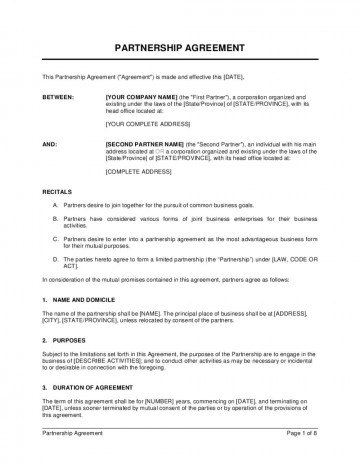 006 Archaicawful Busines Partnership Contract Template High Resolution  Agreement Free Nz Word360