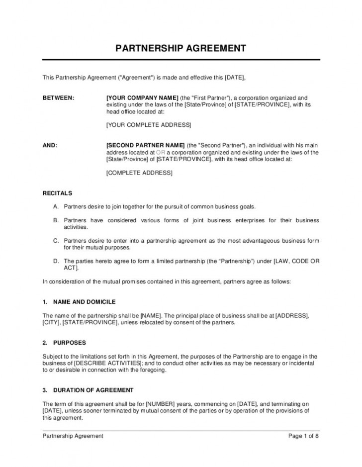 006 Archaicawful Busines Partnership Contract Template High Resolution  Agreement Free Nz Word728