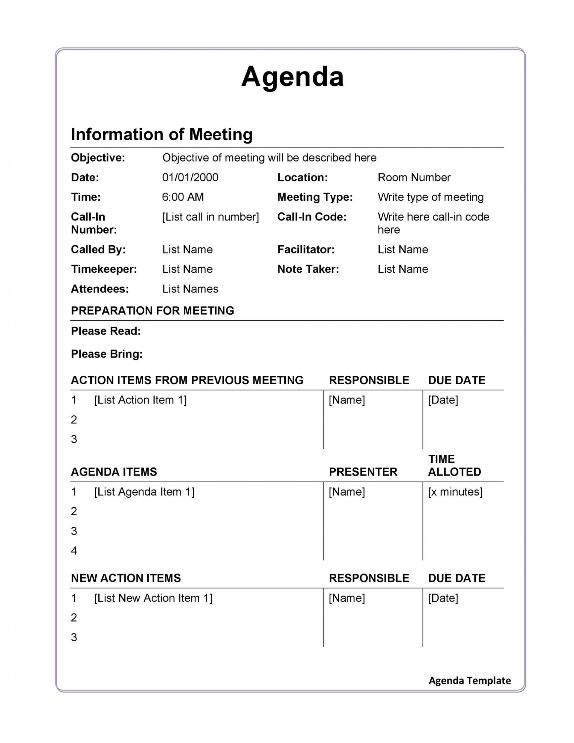 006 Archaicawful Formal Meeting Agenda Format Highest Quality  Example Template Ppt1920