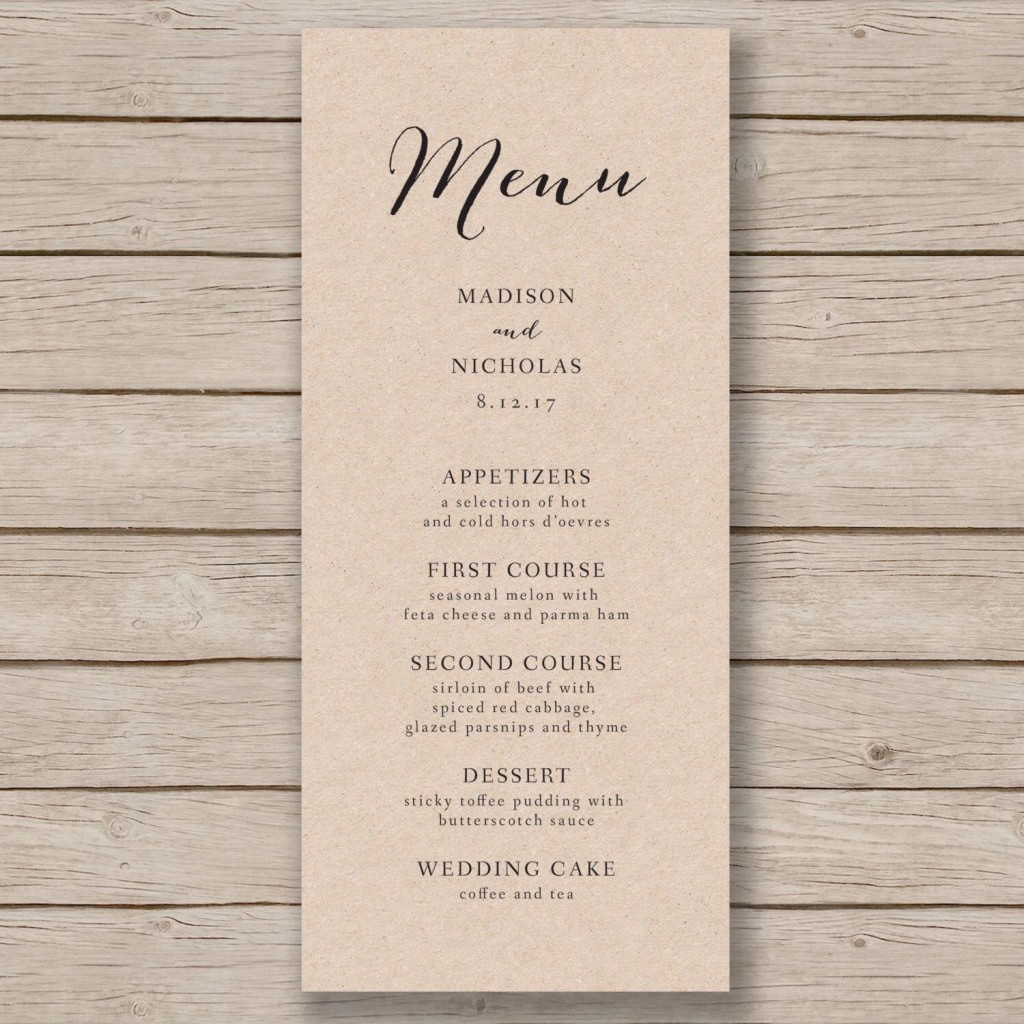 006 Archaicawful Free Wedding Menu Template Concept  Templates Printable For MacLarge