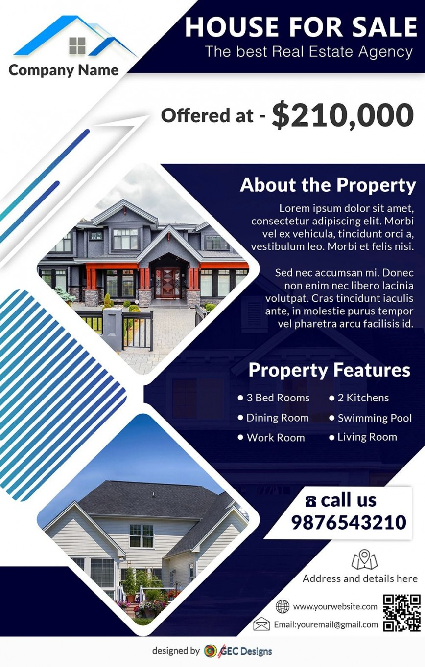 006 Archaicawful House For Sale Flyer Template Highest Clarity  Free Real Estate Example By Owner868