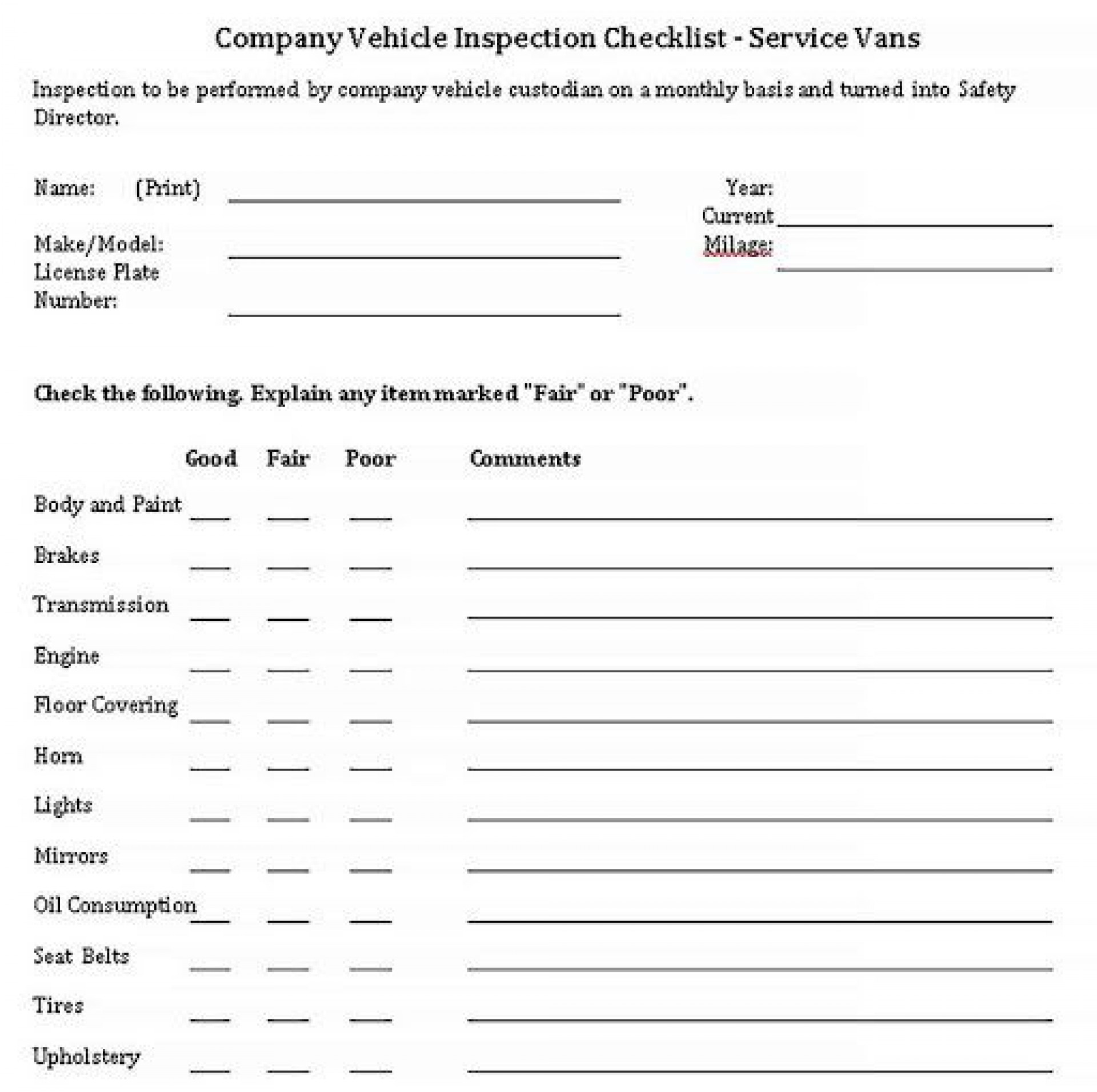 006 Archaicawful Vehicle Inspection Form Template Pdf Example  Used Printable1920