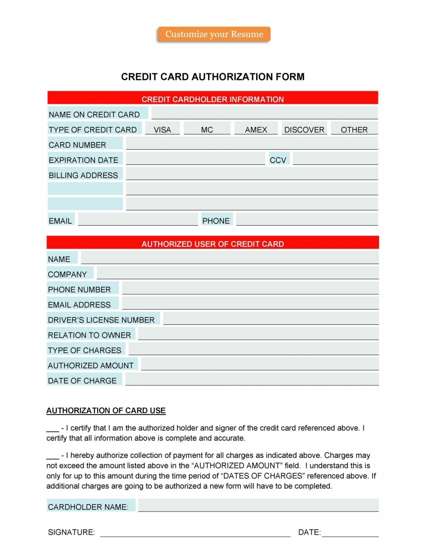 006 Astounding Credit Card Usage Request Form Template Photo 868