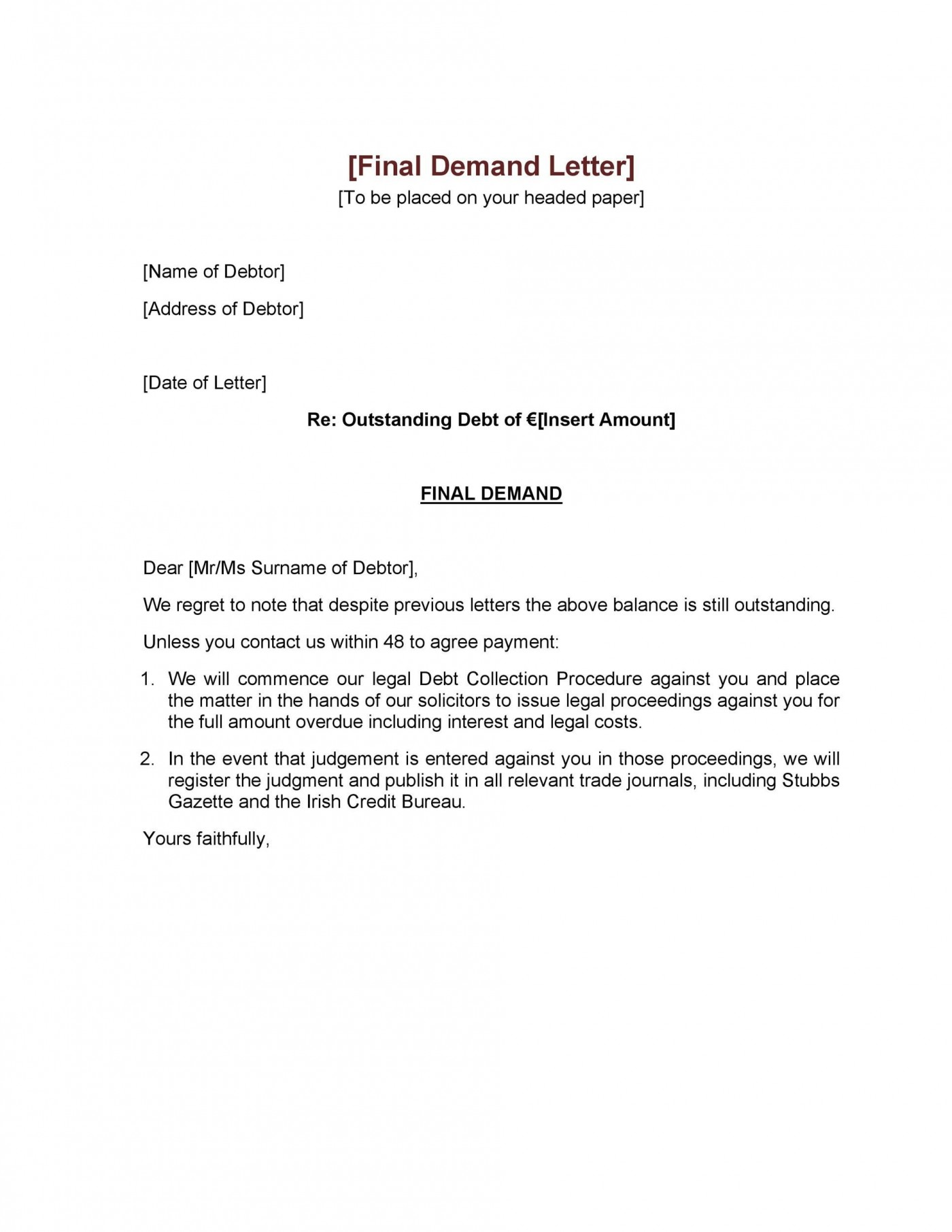 006 Astounding Final Payment Demand Letter Template Inspiration  For Uk1400