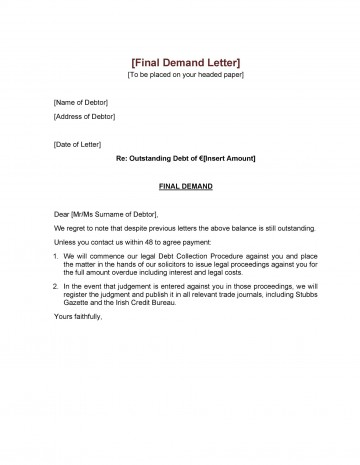 006 Astounding Final Payment Demand Letter Template Inspiration  For Uk360