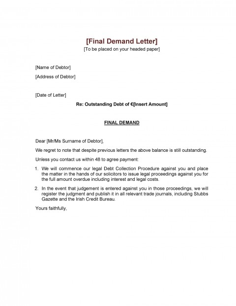 006 Astounding Final Payment Demand Letter Template Inspiration  For Uk480