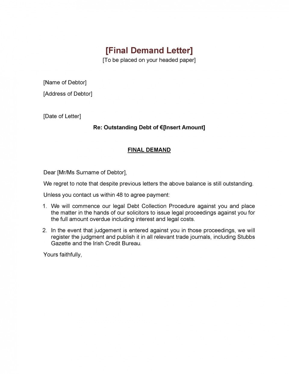 006 Astounding Final Payment Demand Letter Template Inspiration  For Uk960