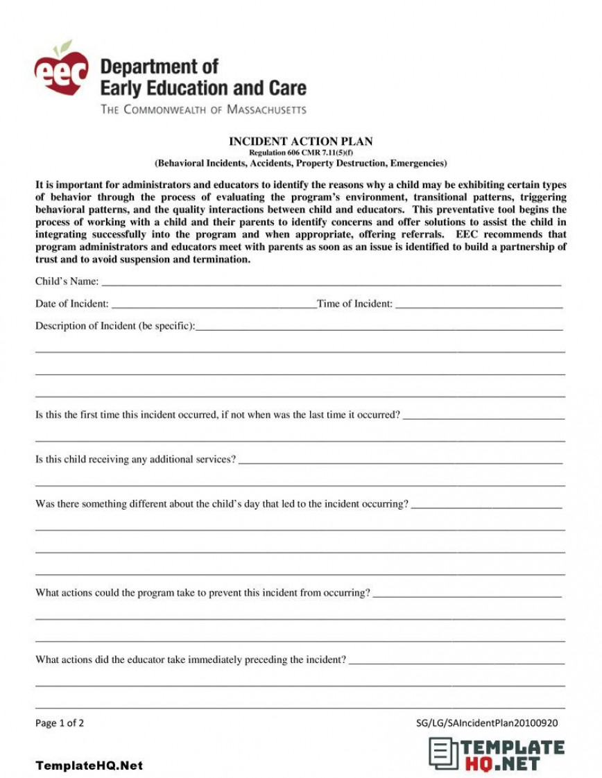 006 Astounding Incident Action Plan Template Picture  Fire Example Format Form 201868