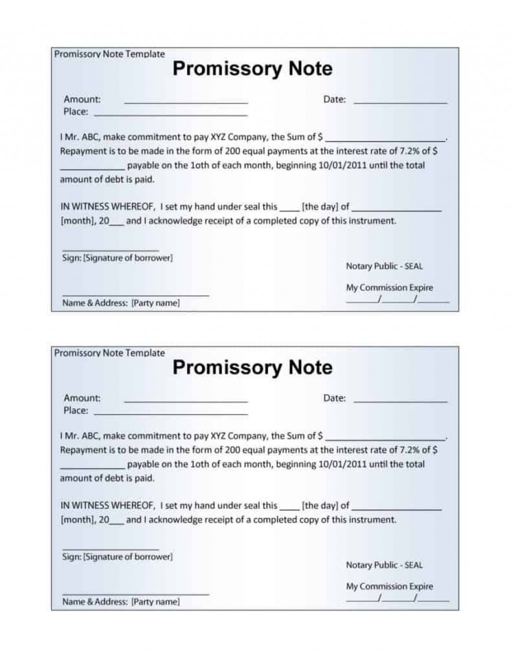 006 Astounding Promissory Note Word Template Sample  2007 Document Uk IndiaLarge