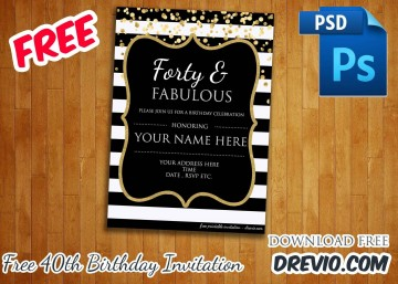 006 Awesome 40th Birthday Party Invite Template Free Inspiration 360