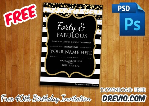 006 Awesome 40th Birthday Party Invite Template Free Inspiration 480
