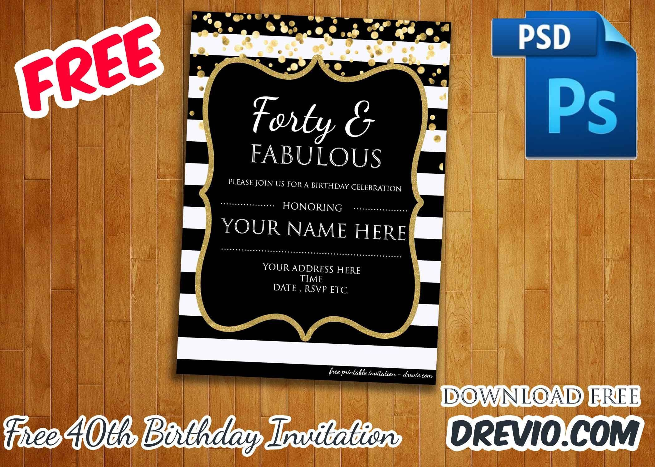 006 Awesome 40th Birthday Party Invite Template Free Inspiration Full